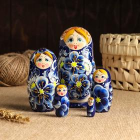 """Матрёшка 5-ти кукольная """"Нина"""" синяя , 13см, ручная роспись."""