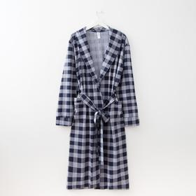 Халат мужской, цвет серый/синий, размер 46
