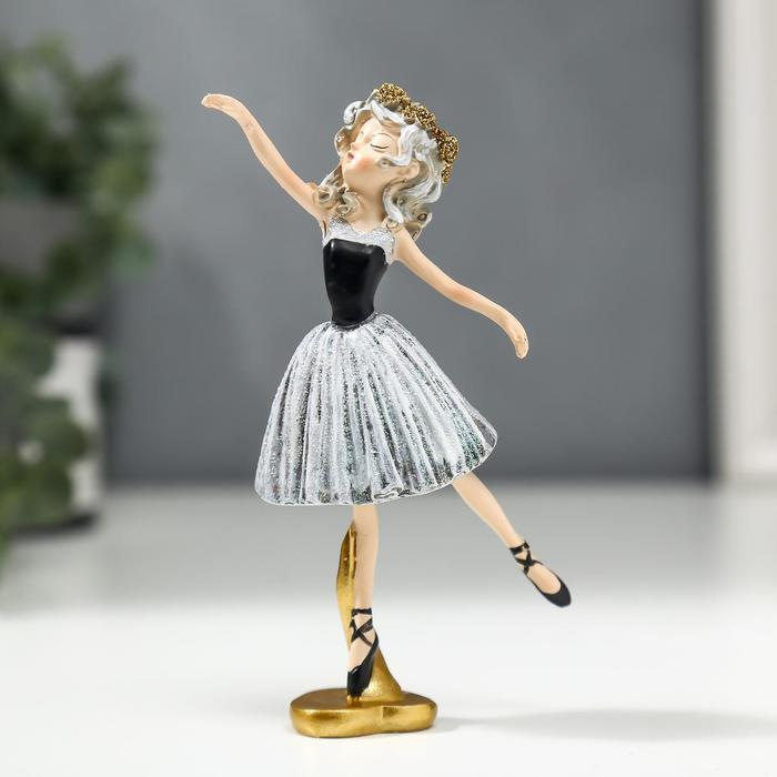 Сувенир полистоун Балерина с кудрями, в серо-чёрном платье и чёрных пуантах 13х3,5х6,5 см   518528