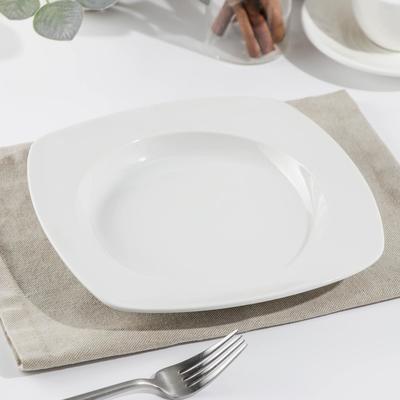 Тарелка квадратная «Белая», d=21,5 см - Фото 1