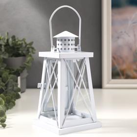 "Подсвечник металл, стекло на 1 свечу ""Фонарь"" белый 21х11х11 см"