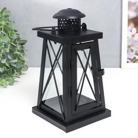 """Подсвечник металл, стекло на 1 свечу """"Фонарь"""" чёрный 21х11х11 см"""