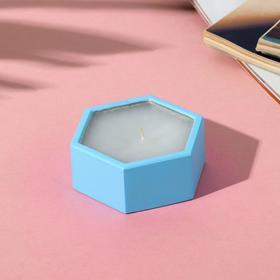 Свеча в подсвечнике (ручная работа) «Голубой», 8 х 3 х 7 см
