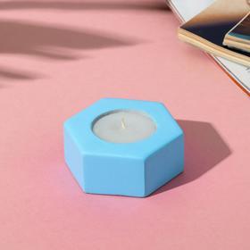 Свеча в подсвечнике (ручная работа) «Голубой», 7 х 3 х 8 см