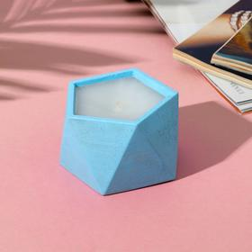 Свеча в подсвечнике (ручная работа) «Голубой», 8,5 х 5,5 см