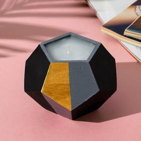 Свеча в подсвечнике (ручная работа) «Черный, серый и золото», 12 х 8,5 см