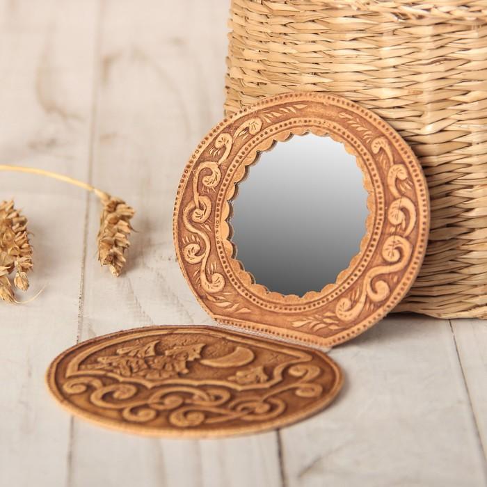 Зеркало «Ночка», на шарнирах, береста