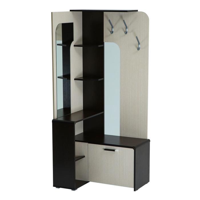 Вешалка «Антре», угловая прихожая, 854 × 705 × 1884 мм, зеркало, цвет венге / дуб молочный