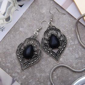 """Серьги ассорти """"Капля"""" изящность, ажурная, цвет чёрный в чернёном серебре (709548) - Купить по цене от 63.00 руб.   Интернет магазин SIMA-LAND.RU"""