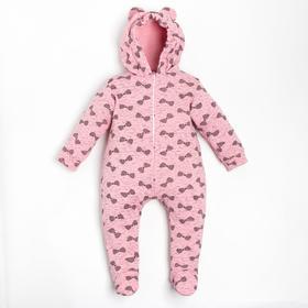 Комбинезон детский, цвет розовый/принт микс, рост 56-62 см