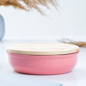 """Набор для холодца """"Вятский №1"""" (1 емкость/1л. + 1 деревянная крышка), розовый"""