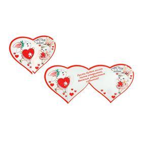 """Открытка-валентинка """"Счастья и любви!"""" глиттер, заяц, пазлы"""