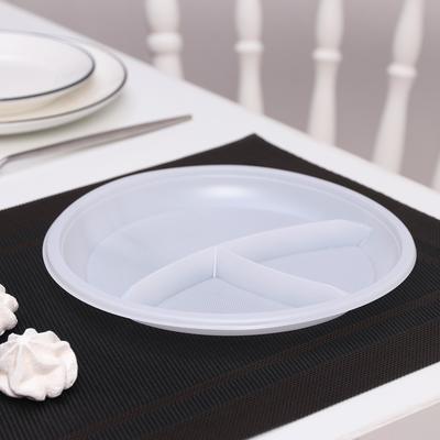 Тарелка одноразовая, 3 секции d=21 см, цвет белый, 12 шт/уп