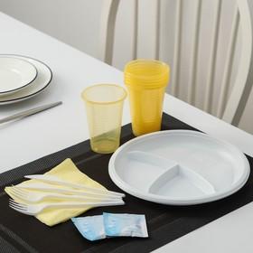 Набор одноразовой посуды «Праздник», 6 персон, цвет МИКС