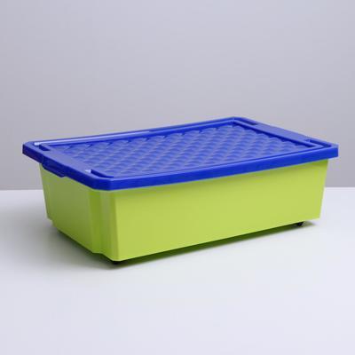 Ящик для игрушек Little Angel «Лего» на колесах, 30 л, с крышкой, цвет фисташковый - Фото 1