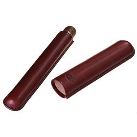 Портсигар кожаный темно-коричневого цвета для 1 сигары диаметра 2,1 см