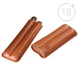 Портсигар кожаный светло-коричневого цвета для 2 сигар диаметром 2,1 см