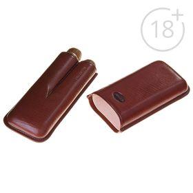 Портсигар темно-коричневого цвета для 2 сигар диаметром 2,1 см