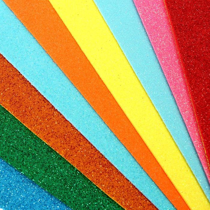 Набор «Пенка с блёстками», формат А4, 10 листов, 10 цветов, толщина 2 мм