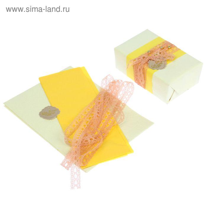 """Набор для упаковки подарка """"Нежность"""" (бумага упаковочная+декор)"""