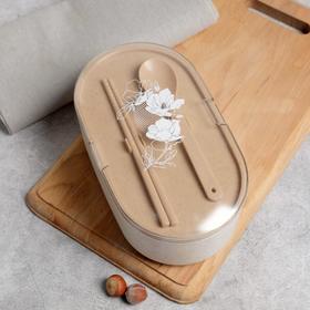 """Ланч-бокс """"Цветы"""", палочки для еды,ложка, 800мл, 20 х 7 см"""