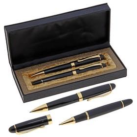 Ручки шариковые, 2 шт.: капиллярная, шариковая поворотная, подарочные, в кожзам футляре, «Бизнес», чёрные