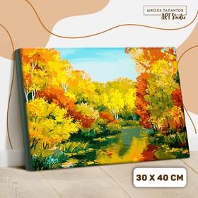 Картина по номерам на холсте с подрамником «Осенний пруд», 40х30 см