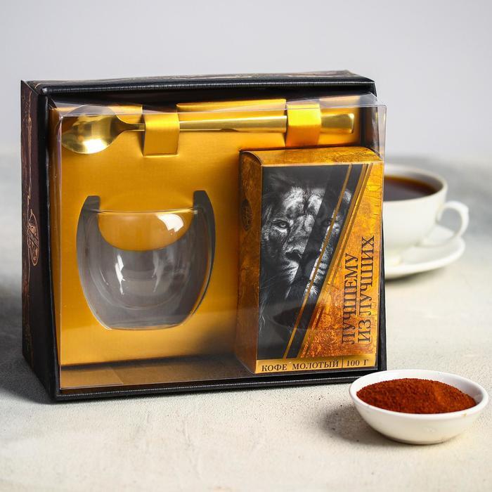 Набор «Лучшему из лучших»: стакан стеклянный 150 мл, кофе 100 г., ложка
