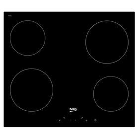 Варочная поверхность Beko HIC 64400 E, электрическая, 6000 Вт, 4 конфорки, сенсор, черная