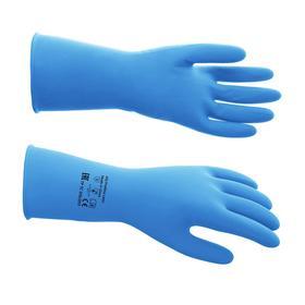 Перчатки латексные многоразовые, S, синие