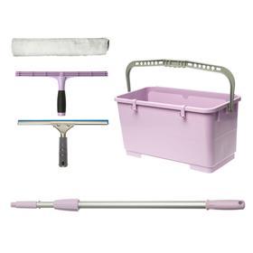 Сезонный набор для мытья окон Expert, фиксированный держатель, шубка, склиз, штанга, ведро Ош