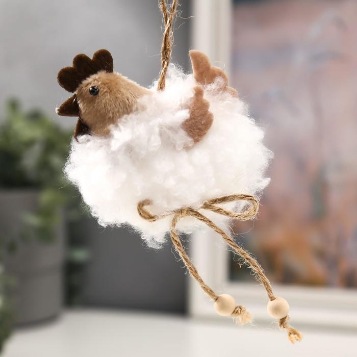 Декор пасхальный подвеска Курочка - белое облачко 10х7х3 см