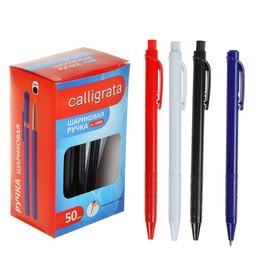 Ручка шариковая, автоматическая, цветной корпус, рефлённый держатель, стержень синий, МИКС