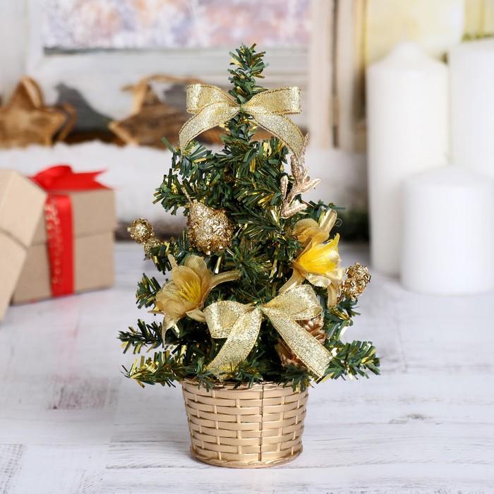 Ёлка декор 20 см золото цветы