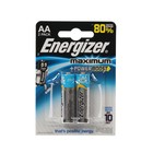 Батарейка алкалиновая Energizer Maximum, AA, LR6-2BL, 1.5В, блистер, 2 шт.