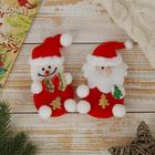 """Мягкая подвеска """"Дед Мороз и Снеговик с ёлочками"""" (набор 2 шт) красный 11 см"""