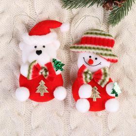 """Мягкая подвеска """"Снеговик и медвежонок с ёлочками"""" (набор 2 шт) красный 11 см"""