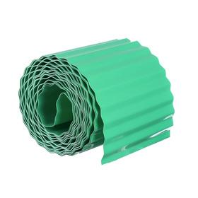 Лента бордюрная, 0.15 × 9 м, толщина 0.6 мм, пластиковая, гофра, зелёная Ош