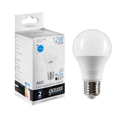 Лампа светодиодная Gauss, Elementary, A60, 12 Вт, E27, 6500 K, 1170 Лм, холодный белый