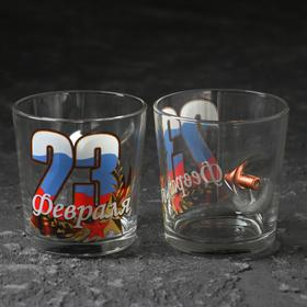 "Стакан ""Непробиваемый 23. Триколор"", для виски, пуля, 250 мл"