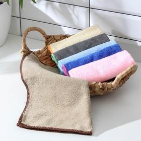 Салфетка для уборки Доляна, 30×30 см, 220 г/м2, микрофибра, цвет МИКС Ош