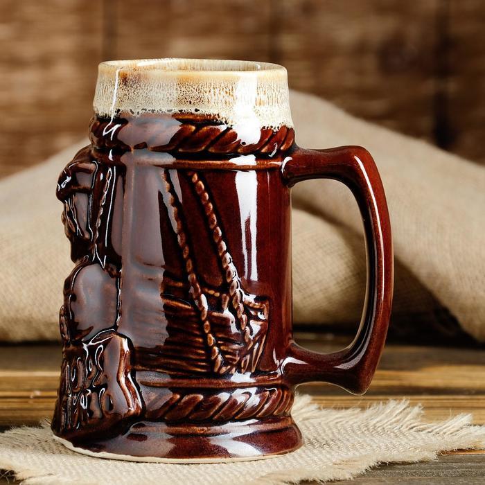 """Бокал """"Лучше моря только пиво"""", коричневый, пена, 0.7 л"""