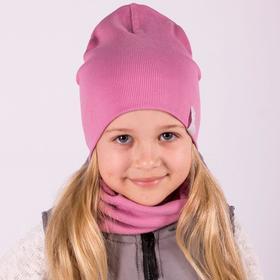 Двухслойная шапка, цвет пудра/принт воздушный шар, размер 46-50