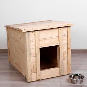 Будка для собак деревянная, крыша прямая, 83 х 63 х 70 см Ош