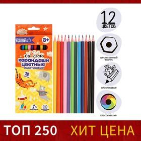 Карандаши 12 цветов Calligrata заточенные, шестигранные, пластиковые, картонная упаковка, европодвес