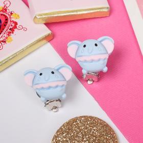 Клипсы детские 'Выбражулька' слоники, цвет розово-голубой Ош