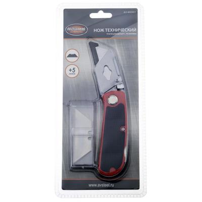 Нож трапециевидный AV Steel AV-900901, автоматический фиксатор, 5 лезвий