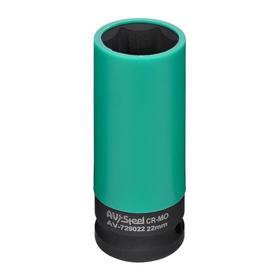"Головка ударная AV Steel AV-729022, 1/2"", удлиненная, тонкостенная, 22 мм"