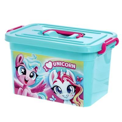 Ящик для игрушек «Волшебные пони», с крышкой и ручками, 6.5 л - Фото 1