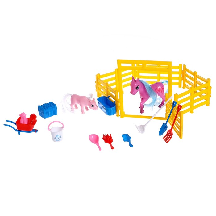 "Лошадь ""Милашка"", набор 2 штуки, с аксессуарами, цвета МИКС"